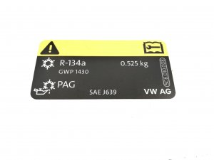 AC label sticker 525g R-134a