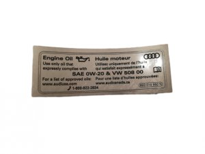 Engine oil information sticker 0W20 508 00 Audi